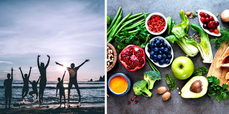 Diet and lifestyle. 2 pictures, 1 showing people jumping on the beach in the waves. Other showing fruits, veggies, seeds and meat.